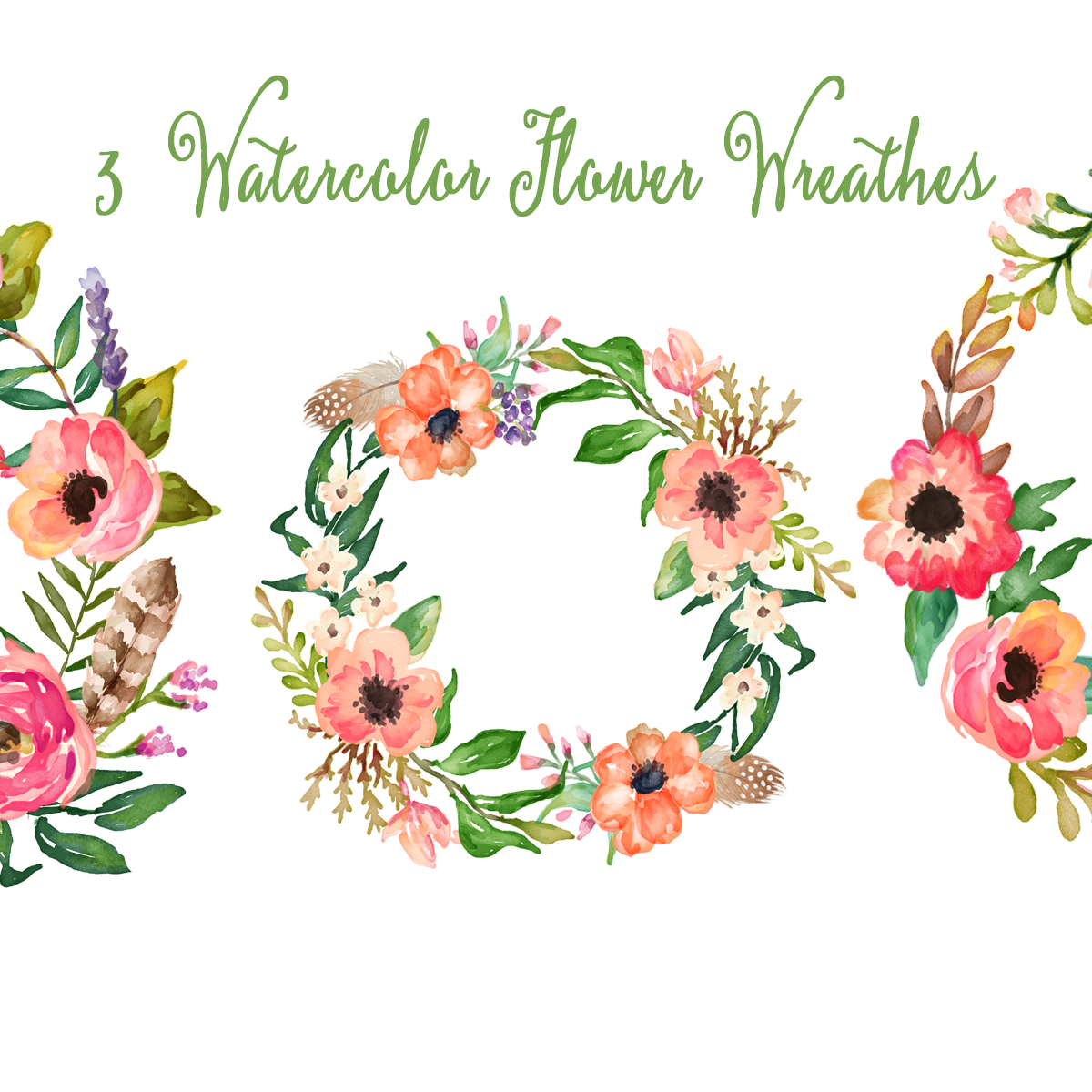 Watercolor hand painted floral frames clipart floral wreaths