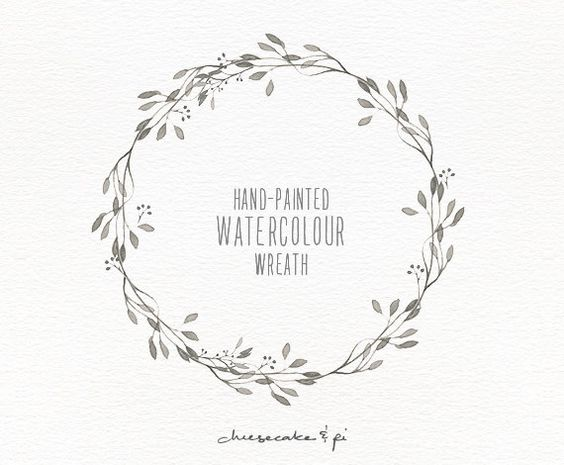 Watercolor wreath hand painted floral clipart wedding