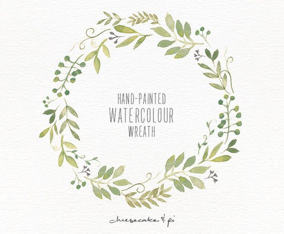 Watercolor wreath painted floral clipart wedding