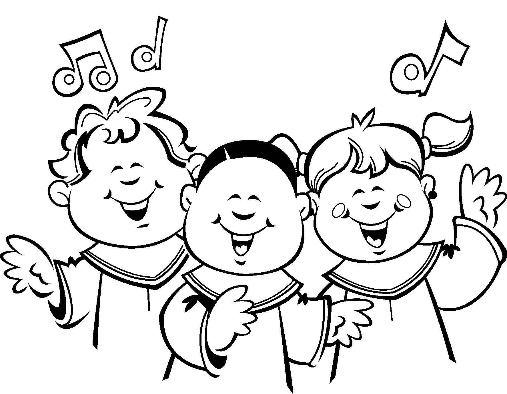 Children choir clip art sketch coloring page