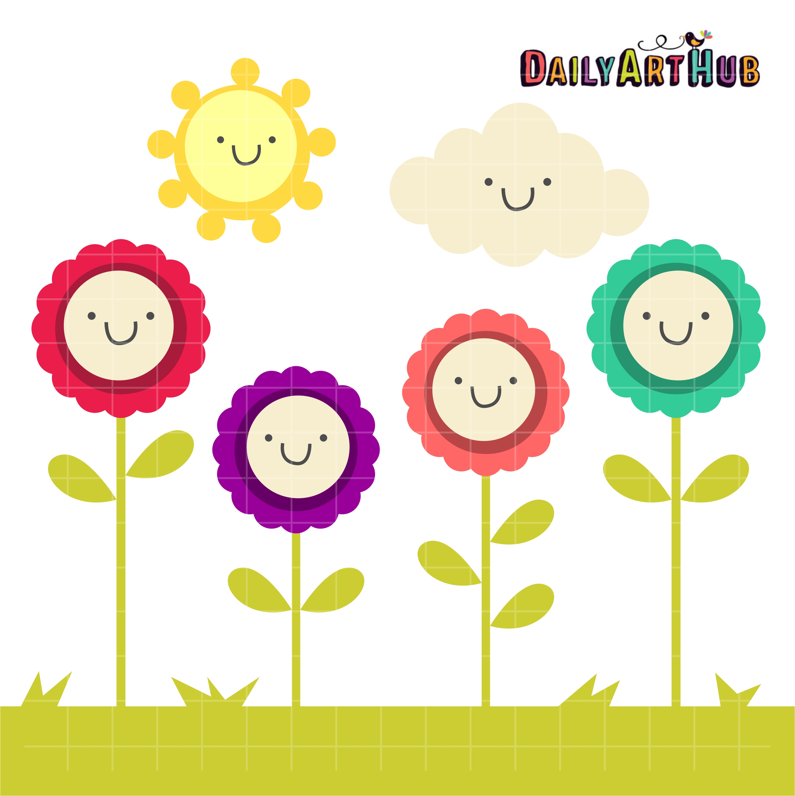 Happy nature clip art set daily hub