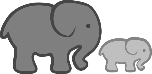 Mommy and baby elephant clipart kid 2