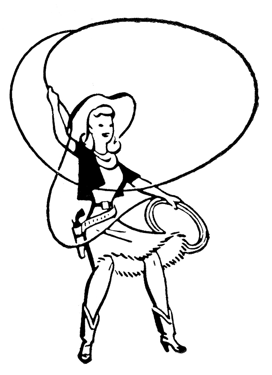 Retro clip art cute cowgirls the graphics fairy