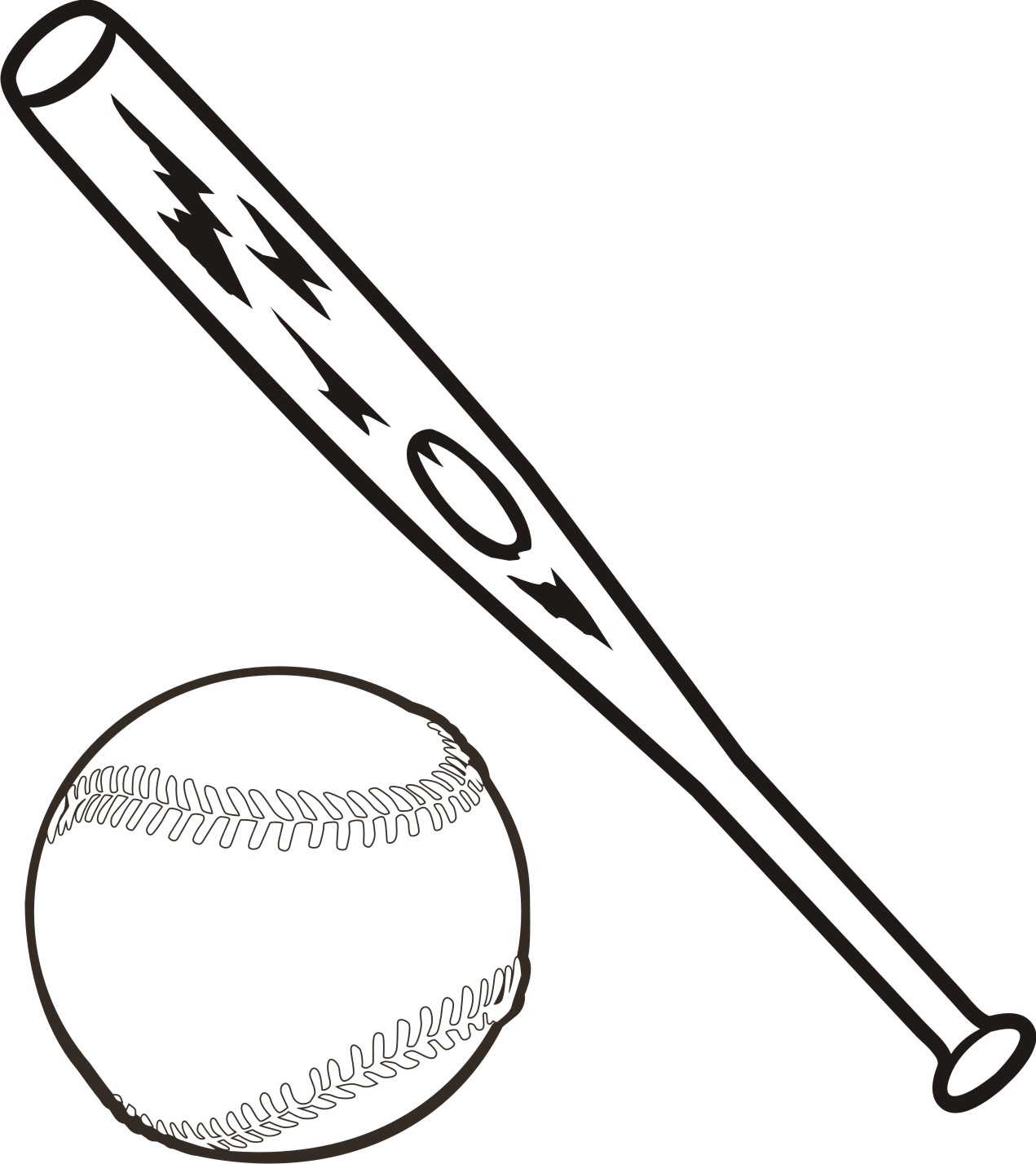 Baseball bat softball bats crossed clipart 2