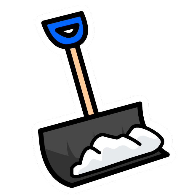 Blue snow shovel clipart