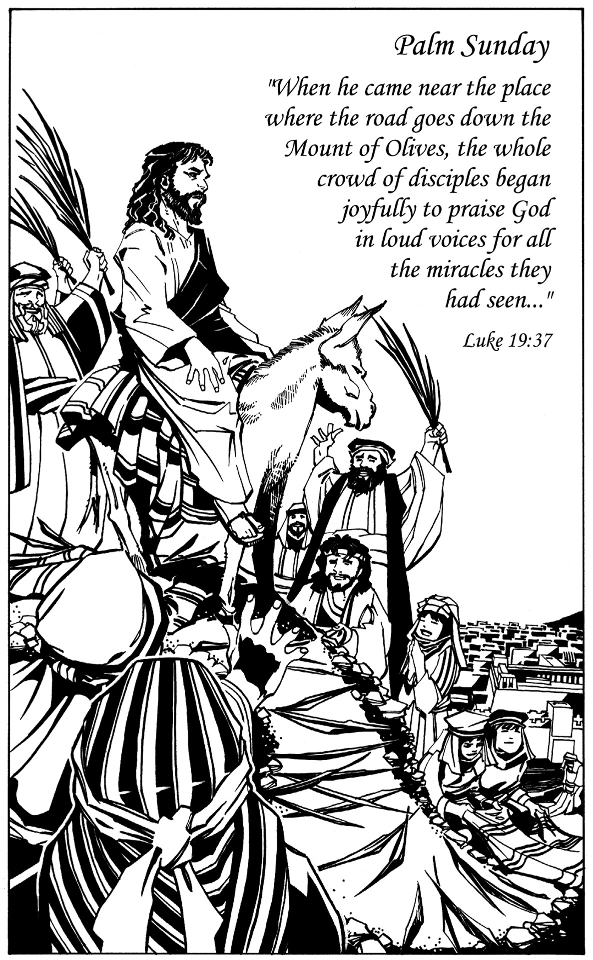 Excellent for each of palm sunday coloring pages affiliated with ...