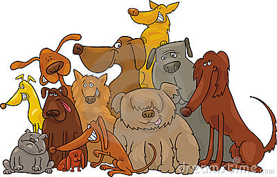 Group of dogs clipart 2