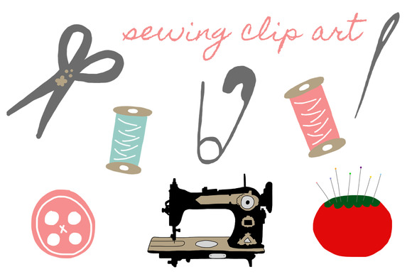 Sewing accessories clipart graphics on creative market