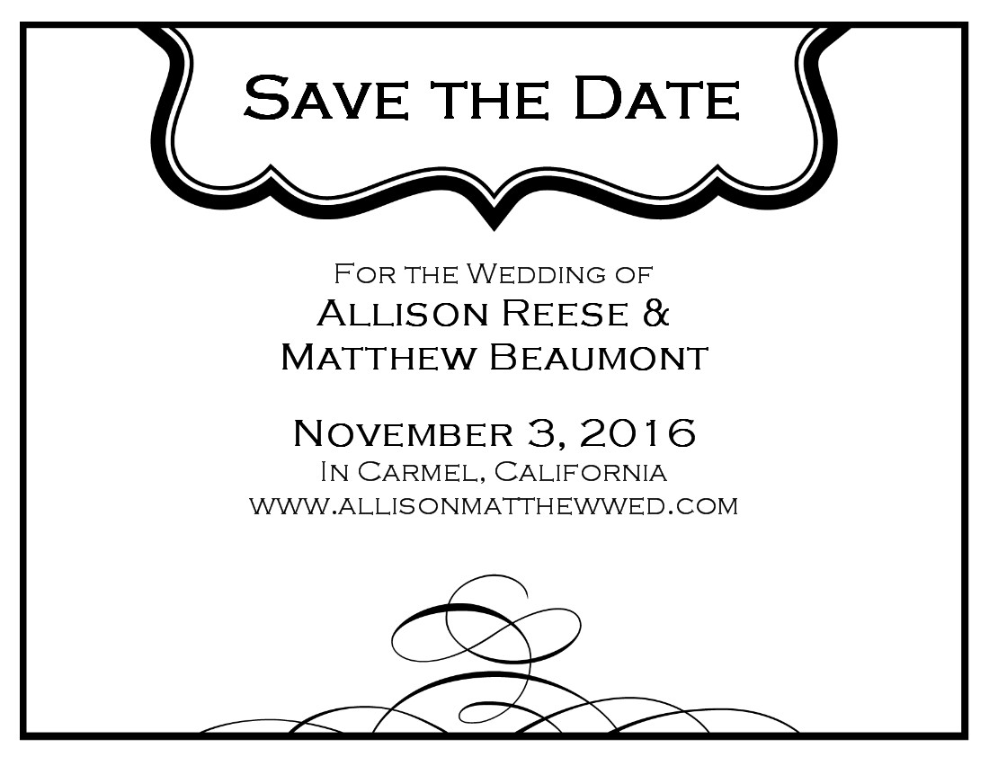 Black and white save the date card cliparts