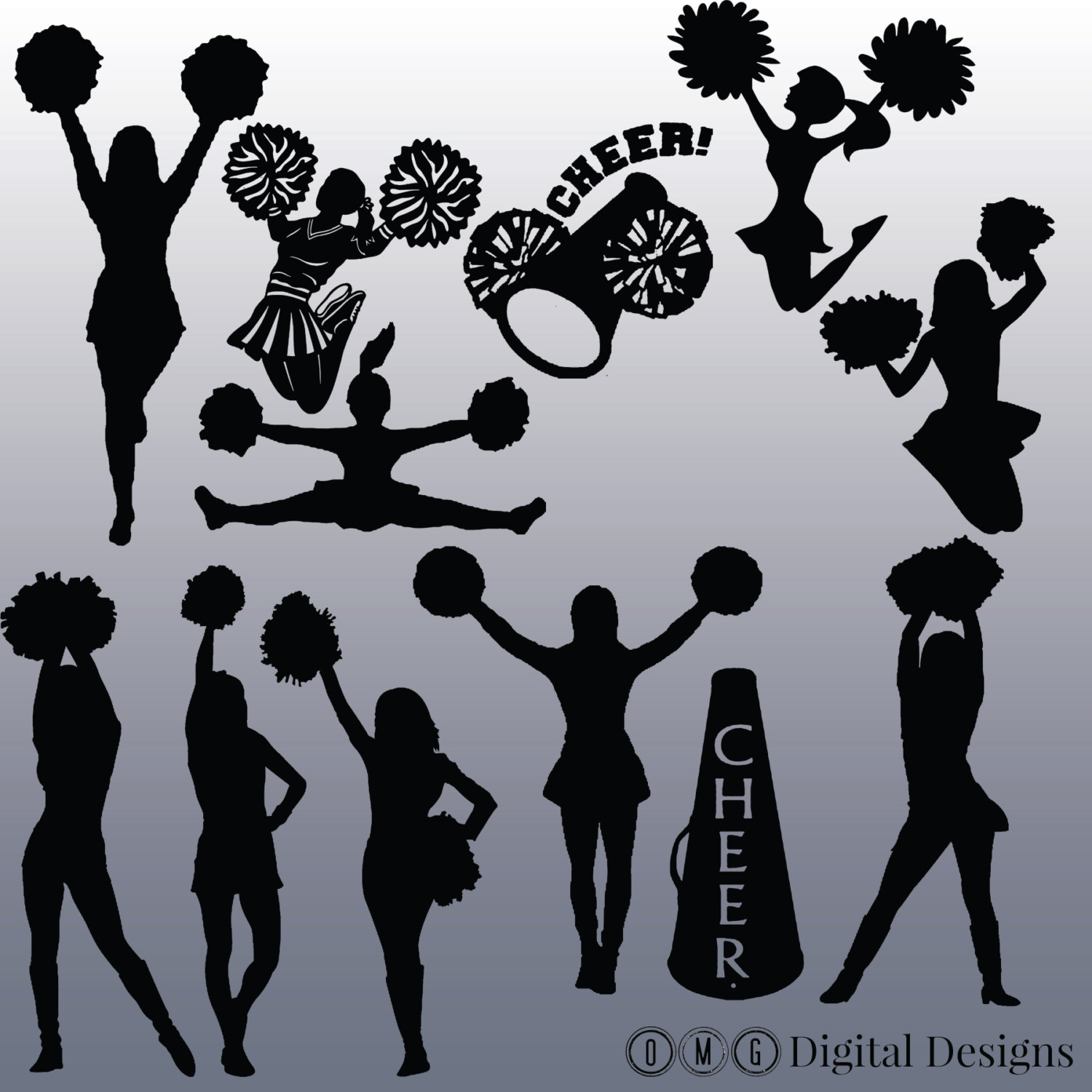 Cheerleading silhouette clip art clipartfest