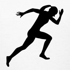 Female silhouettes track and field on clipart