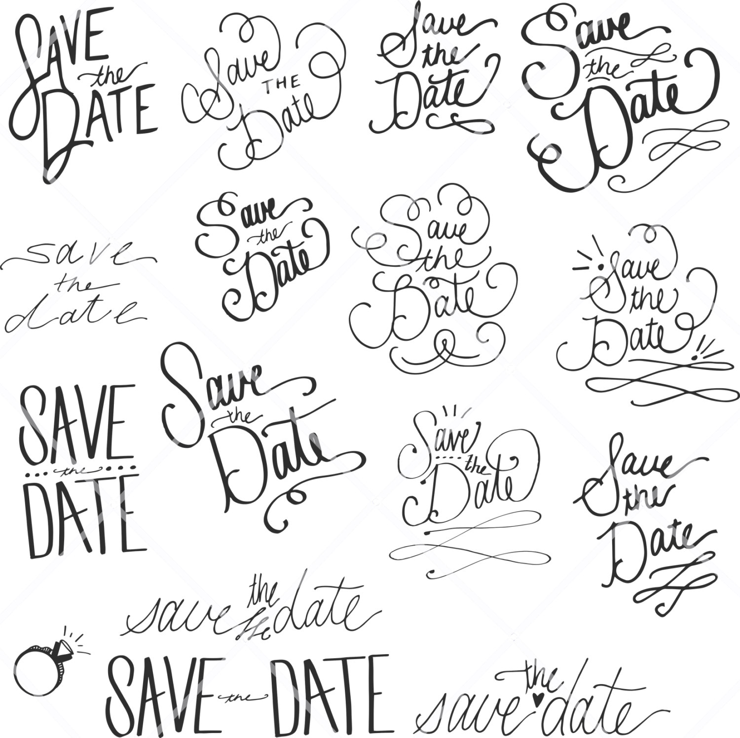 Save the date black and white clipart