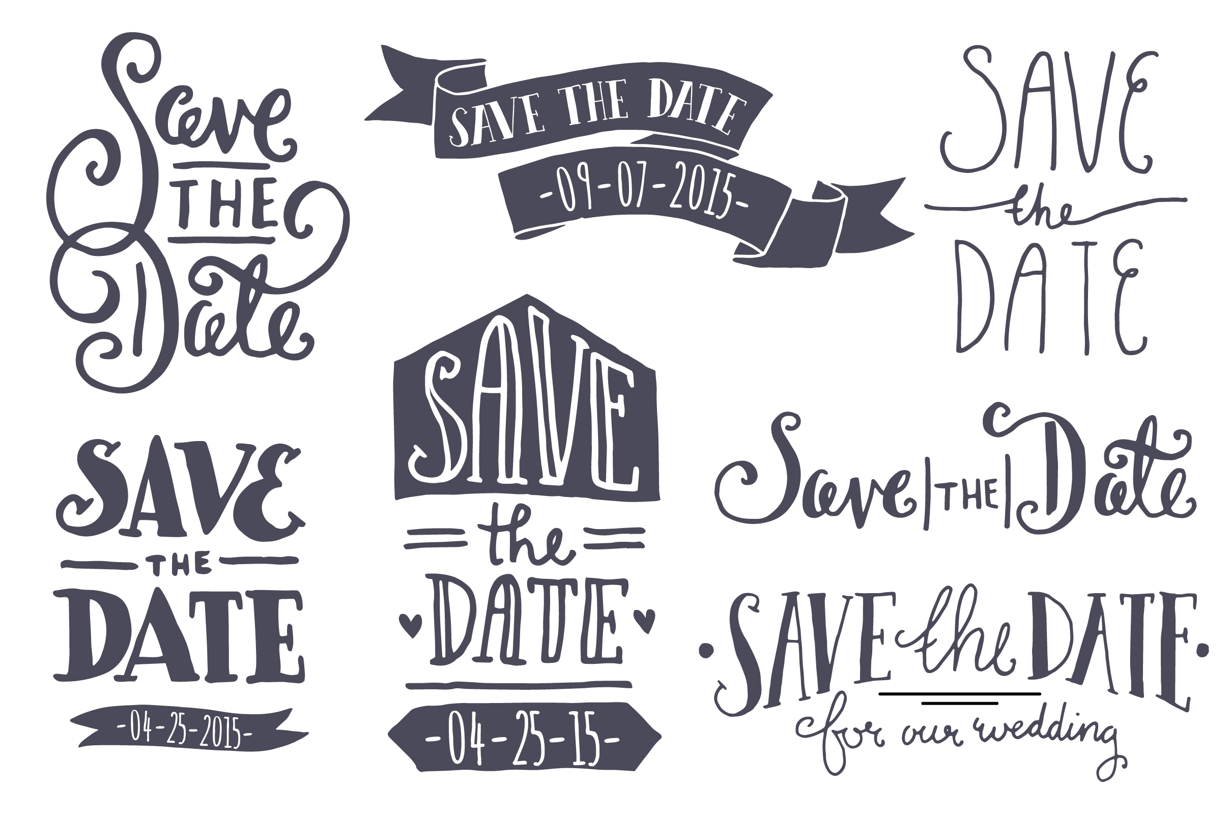 Save the date vintage style clip art and brides on