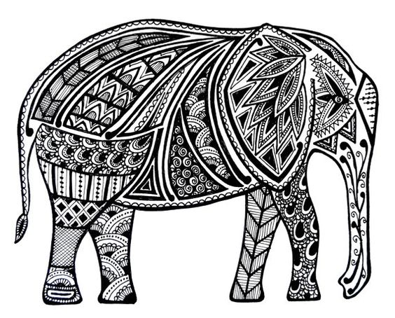 Zentangle good luck and elephants on clipart