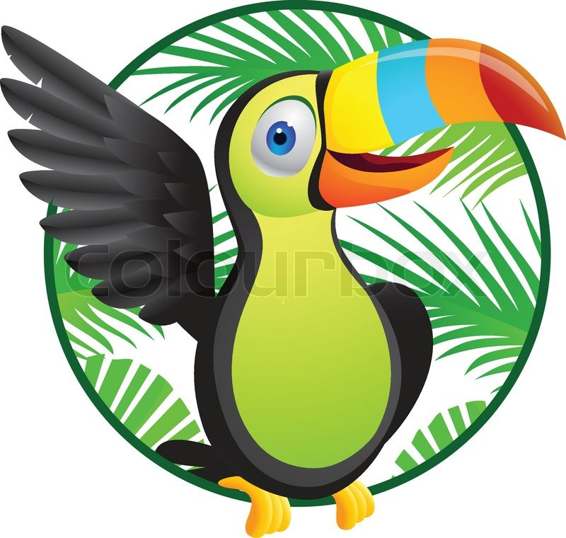 Cartoon toucan toucan parrot in flight against a blue background vector colour