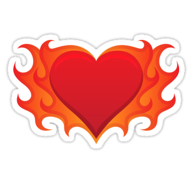 Burning heart with flames red hot love stickers by mhea