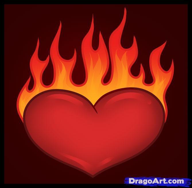 Heart with flames cool hearts on fire drawings abuv cliparts