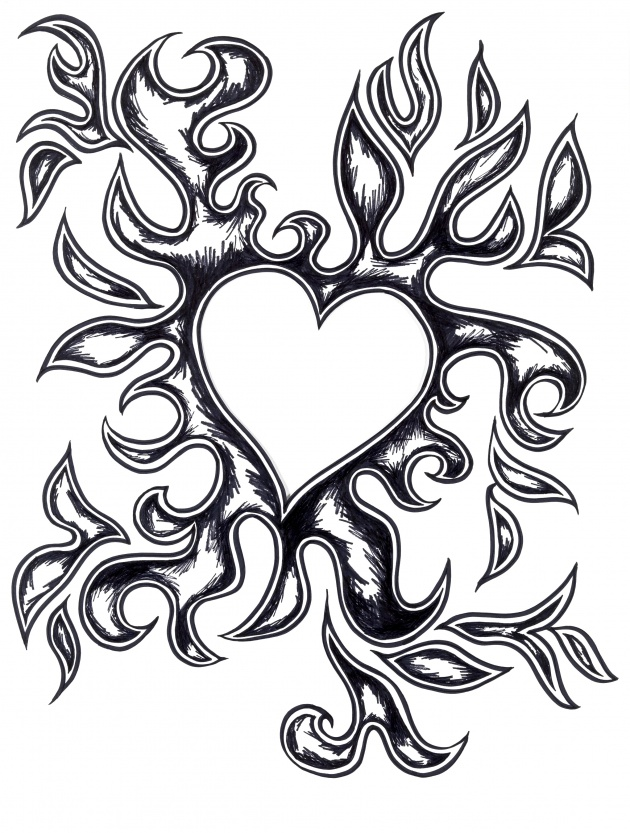 Heart with flames drawings of hearts on fire free download clip art