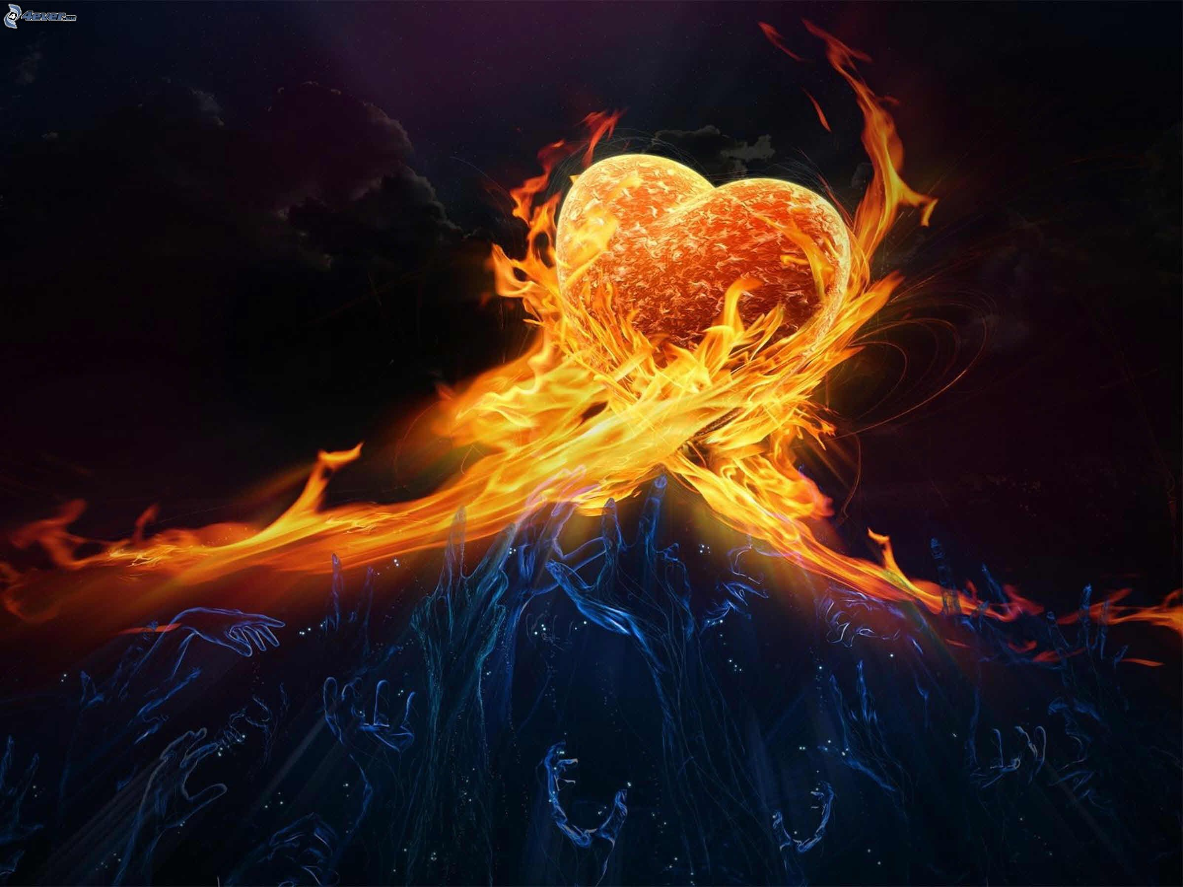 Heart with flames fire heart clip art