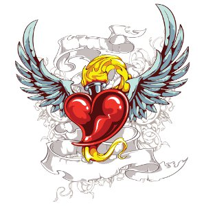Heart with flames flaming heart tattoo clipart 2
