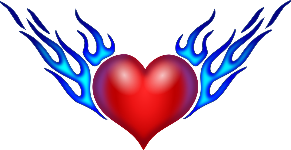 Heart with flames free vector graphic heart flames love flaming image on clipart