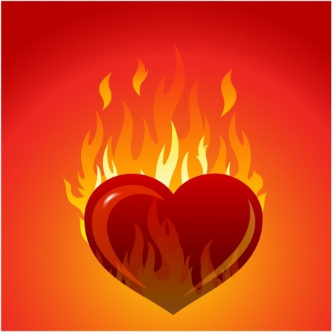 Heart with flames free vector in adobe illustrator ai ai clip art