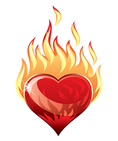 Heart with flames heart a blaze facebook symbols and chat emoticons clipart