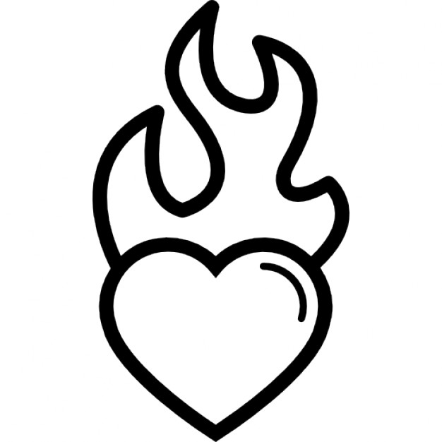 Heart with flames heart burning on flames icons free download clip art