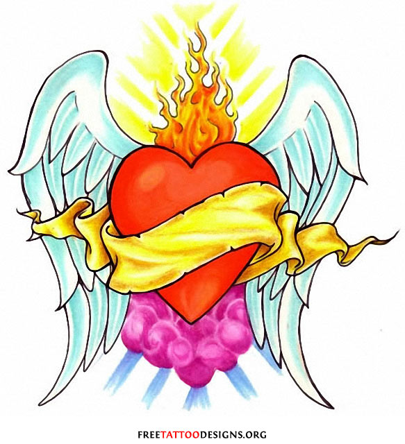 Heart with flames heart tattoos love and sacred tattoo designs clipart