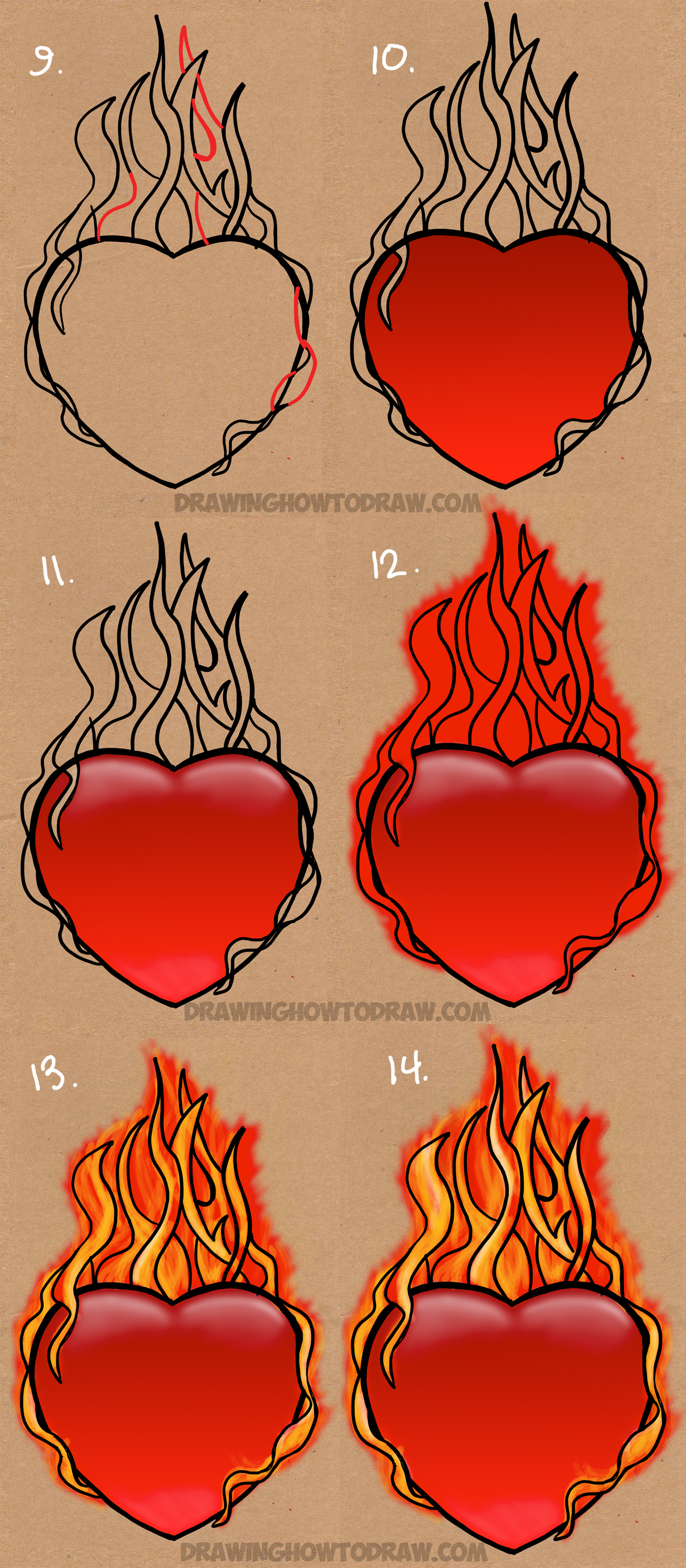 Heart with flames how to draw a flaming heart on fire with step by drawing clip art