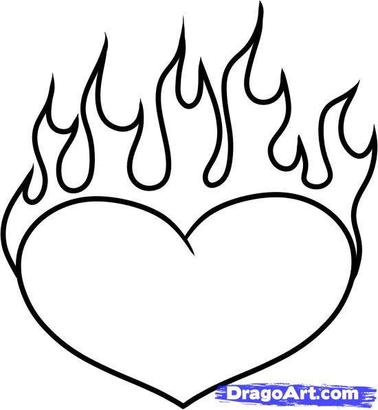 Heart with flames how to draw a heart on fire step by tattoos pop culture clip art