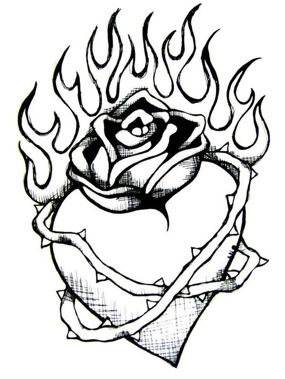 Heart with flames my heart clip art
