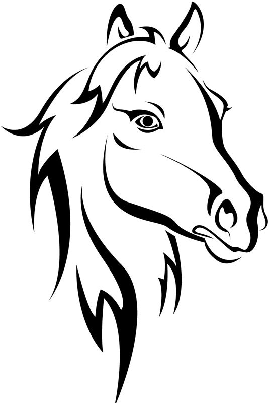Horse head clip art horse head outline farmyard animals wall