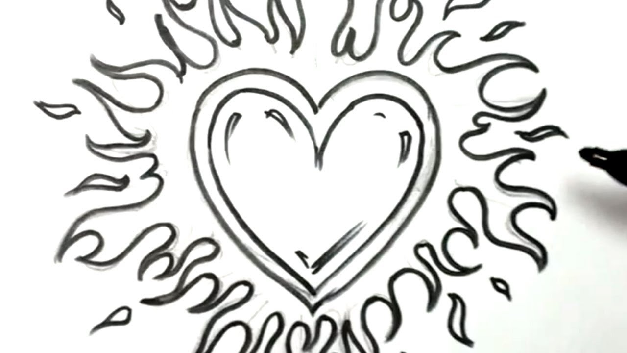 How to draw a heart with flames a love on fire youtube clipart