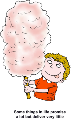Image boy with cotton candy some things in life promise a lot clip art