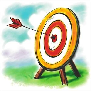 Target and arrow going left brown background archery clipart