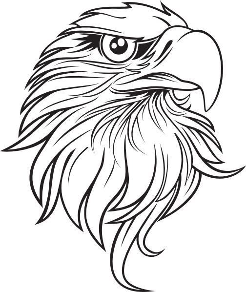 Bald eagle black and white cartoon feather large clip art