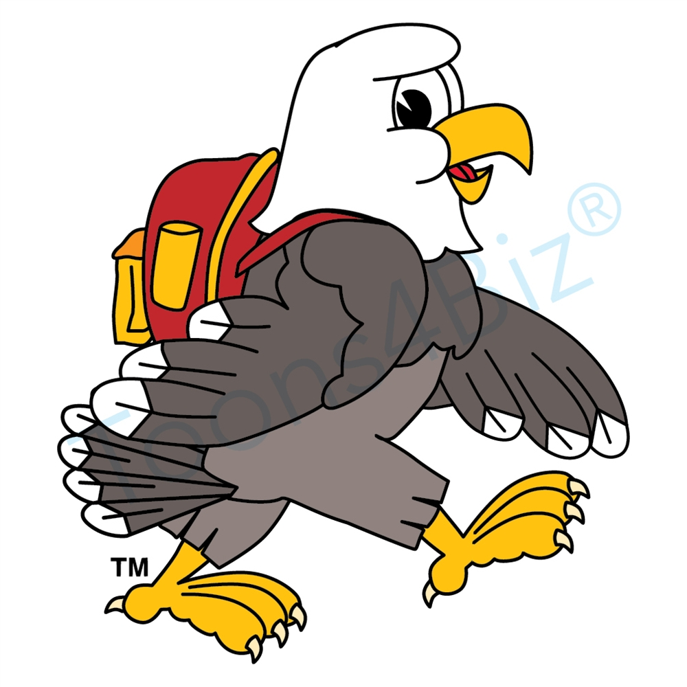 Bald eagle mascot backpack clip art