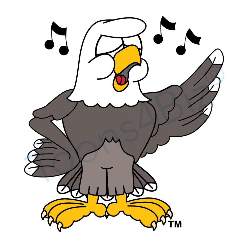 Bald eagle mascot singing clip art