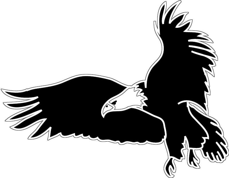 Clipart of a black and white flying bald eagle free 2