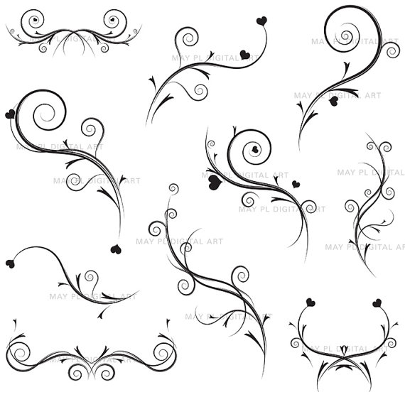 Flourish clipart vintage swirl digital vine monogram heart diy