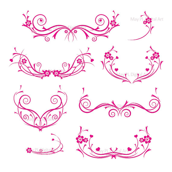 Flourishes hot pink decorations damask decorative flower curly cliparts