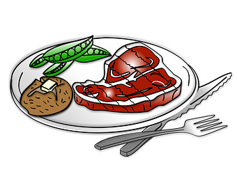 Steak dinner clipart