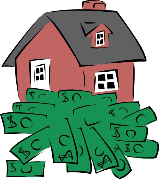 House sitting on a pile of money clip art free vector in open