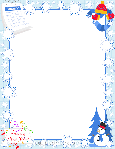 January border clip art page and vector graphics