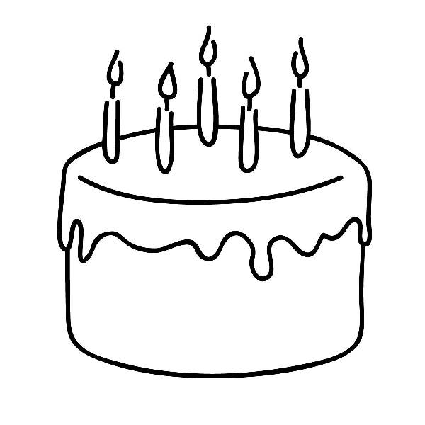 Birthday cake clip art free black and white clip art to cut