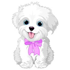 Clipart of a cute bichon frise or maltese puppy dog sitting