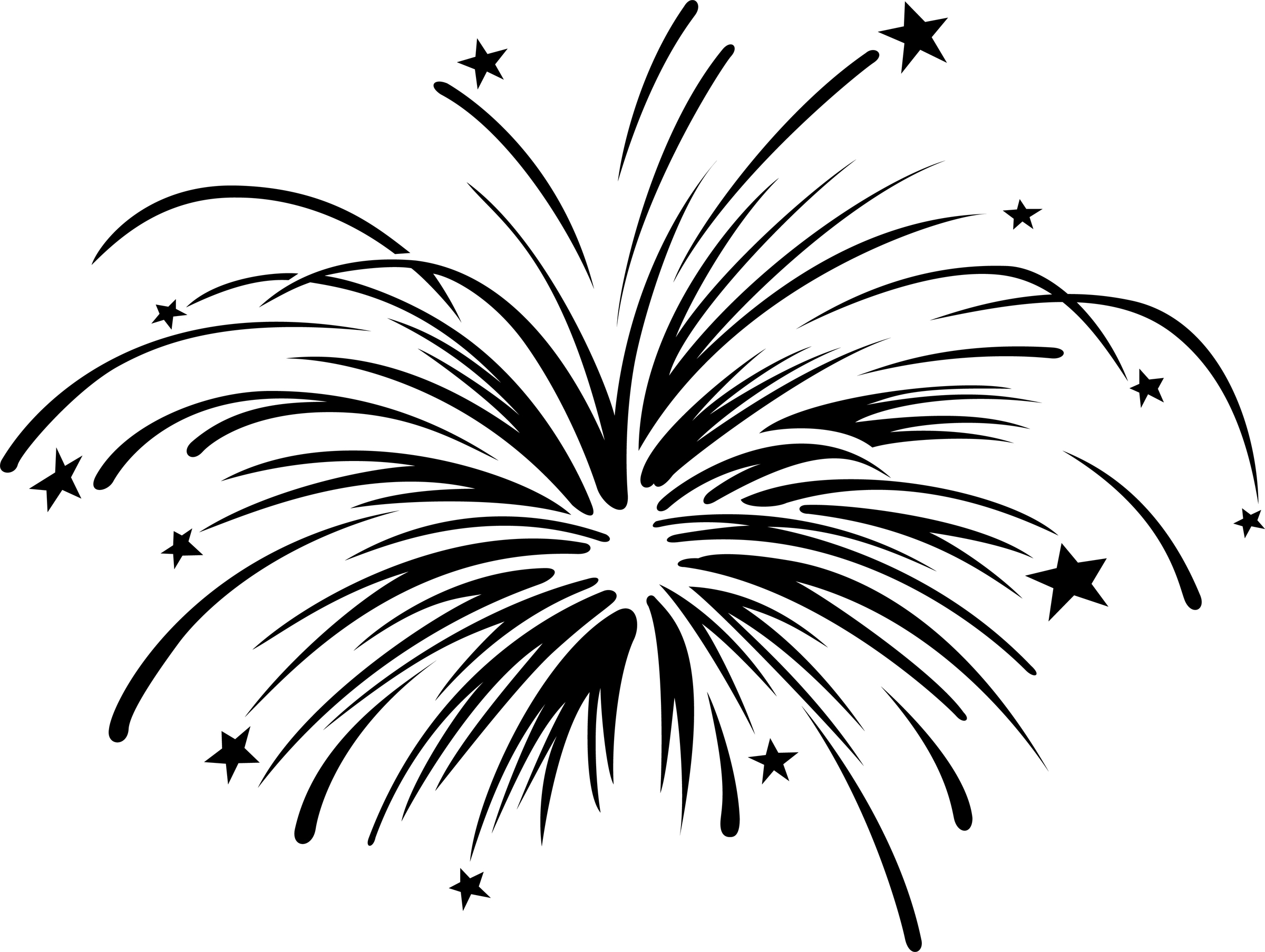 Fireworks clipart black and white free