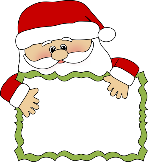 Santa clip art santa sign clip art peeking over a blank