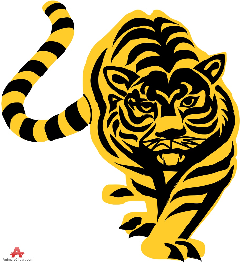 Tiger stencil clipart sticker design free download